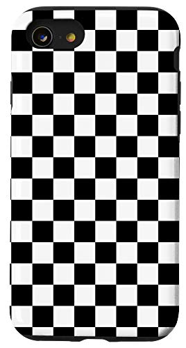 iPhone SE (2020) / 7 / 8 Black and White Checkered Checkerboard Pattern Case