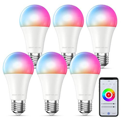 MMcRRx Alexa lampadina smart E27,Lampadina WIFI RGB compatibile con Alexa Google Home Echo, 800LM,Lampadina cambia colore, con controllo app,Dimmerabile,Nessun hub richiesto Lampadina Smart Bulb 6p