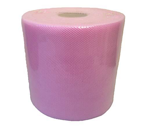 Baratti 880 - Rollo de tul de 12,5 cm de ancho, bobina de 100 metros, rosa