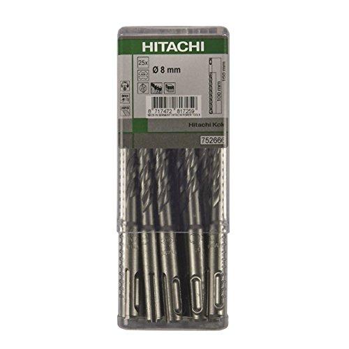 Hitachi-782657-Multipack 25 punte per trapano, SDS-Plus 2 tagli professionale 5 x 260 mm lungo 200 util