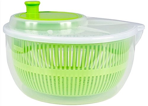 Salatschleuder Salatschüssel mit Ausguss Kunststoff Transparent farbig Ø 25 cm, Farbe:Hellgrün
