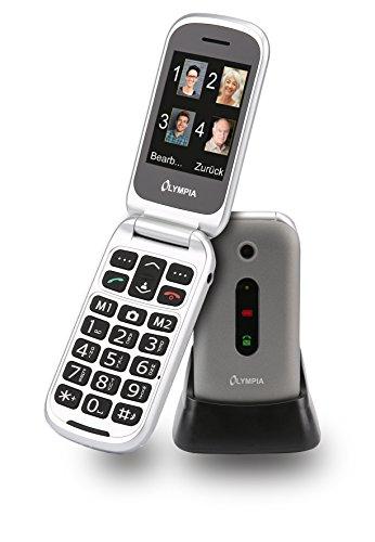 OLYMPIA 2221 Seniorenhandy MIRA, Silber Große Tasten Notruf-Taste Klappbares Großtasten-Handy | Mobiltelefon für Senioren/Rentner ohne Vertrag | Altersgerechtes Klapphandy mit Tasten