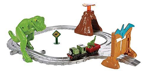 Thomas et ses amis Coffret avec dinosaure T-Rex prêt à bondir et volcan en éruption, locomotive en métal Luke inclue, jouet pour enfant dès 3 ans, FBC67