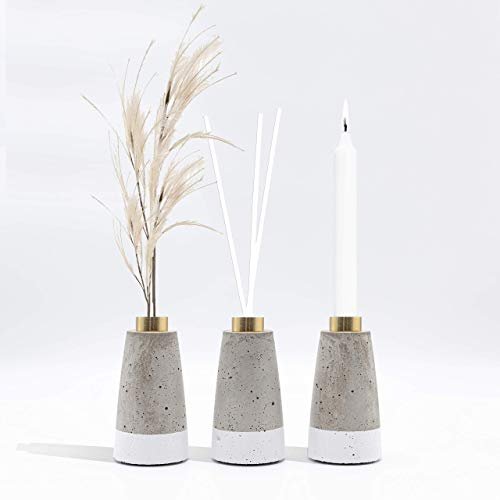 1x minim. Kerzenständer, Vase, Beton, Design, Pampasgras, Handmade