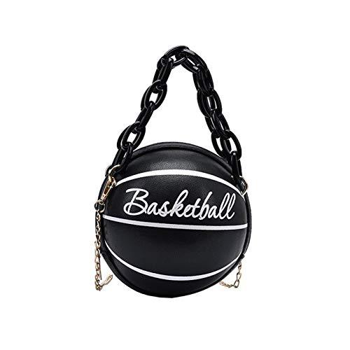 XUHANG Damen Basketball Runde PU Leder Schulter Crossbody Tasche Tote Kette Satchel Einheitsgröße BK
