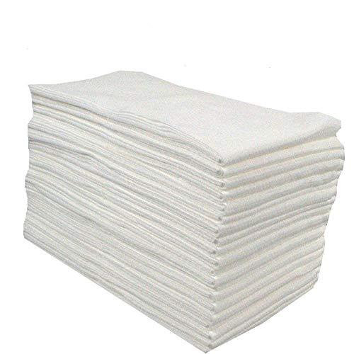 jiulong Lot de 100 Essuie-Mains Jetables Absorbants en Essuie-Mains Jetables Spunlace pour HôTels De Beauté, 36 X 60 Cm, Blanc