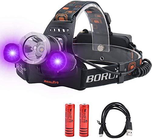 Lámpara frontal recargable, lámpara de cabeza LED con luz UV y blanca, 5000 lúmenes, súper luminosa, 3 modos para camping, senderismo, correr, caza (batería incluida)