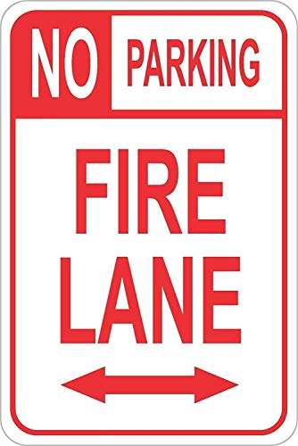 LPLED Wall Decor Sign No Parking Fire Lane pre drilled Holes Weatherproof Aluminum Metal Sign 8x12 Inches (W4014)