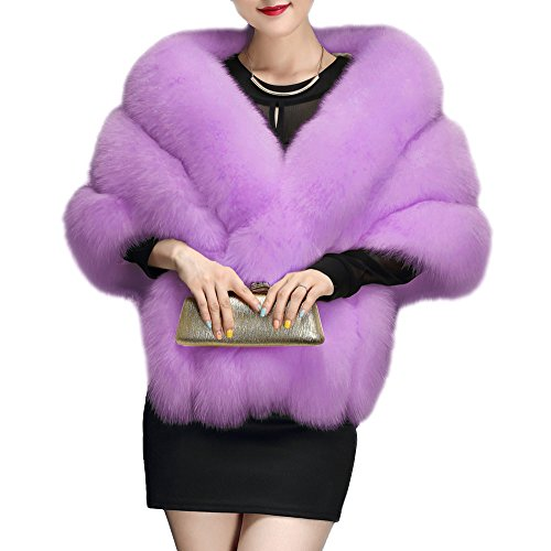 Amore Bridal Women's Luxury Party Faux Fox Fur Long Shawl Cloak Cape for Winter, Lilac, One Size