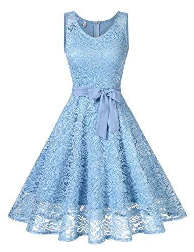 KOJOOIN Damen Spitzen Brautjungfernkleider für Hochzeit Abendkleider Ärmellos Kurzes Cocktail Ballkleid Himmelblau M
