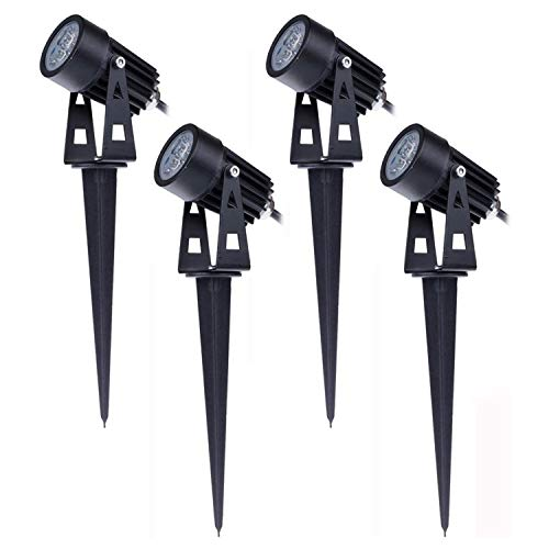 Uniquk 4PCS Luces de JardíN Focos Luces Al Aire Libre 3W 220V IP65 LED Spot Paisaje para Patio áRbol Patio CéSped Arbusto de Pared
