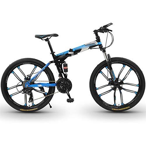 WPW Bicicleta de Montaña de 26 Pulgadas, Hombres, Mujeres, 24 Velocidades, 10 Ruedas de Corte, Marco de Aleación de Aluminio, Bicicleta de Montaña, Portátil (Color : 21-Speed Blue, Talla : 24inches)