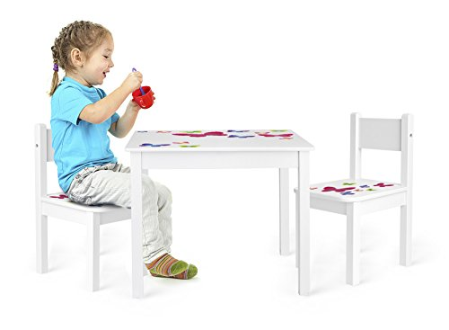 Leomark Mesa y sillas de Madera para niños, 1 Mesa y 2 Silas, Mesas y sillas Infantiles de Madera, Juego de Muebles Infantiles, para Cuarto de los niños, Motivo: En Mariposas, Altura: 49 cm