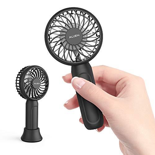 Aujen 携帯扇風機 扇風機 小型 手持ち ハンディファン ミニ扇風機 超静音 卓上置き 風量4段階調節 静音運転 軽量で便利 オシャレPSE認証済ブラック