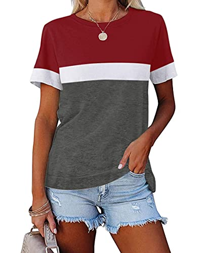 ZIWOCH Women's Summer Color Block Short Sleeve Tunic Tops Crew Neck Casual Basic Comfy Loose Fit T Shirts Wine Red