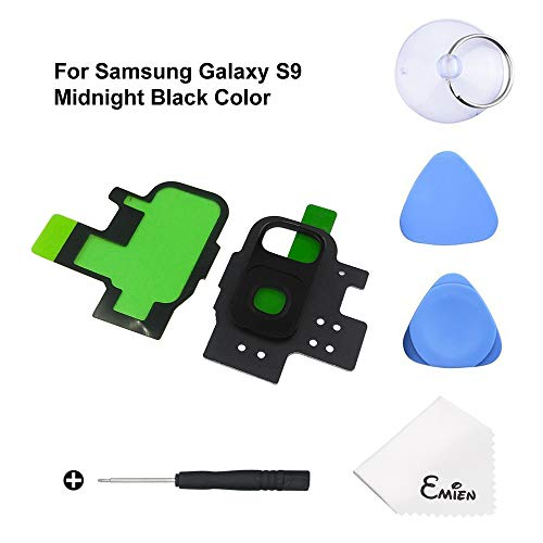 EMiEN Rear Back Camera Glass Lens Cover + Rear Camera Bezel Frame with Adhesive Replacement Parts for Samsung Galaxy S9 G960 with Repair Tool Kit (Midnight Black) -  YCONAMZPTNB5112