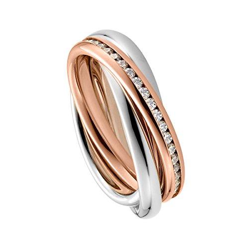 Heideman Ring Damen Trini aus Edelstahl Rosegold farbend matt Damenring für Frauen Rollring Spielring Dreierring 3er
