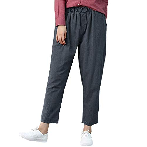 Trousers Pants, Women Solid Pure Color Cotton and Linen Pencil Pants Casual Long Pants, Women Trouser Plus Size (Gray 3XL)