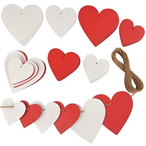 TUPARKA 60 Stück Rote und weiße Holzherzen Hängende Herzen Dekorationen Holzherzverzierungen für Valentinstag Hochzeitsfest DIY Handwerk , Gemischte Größe
