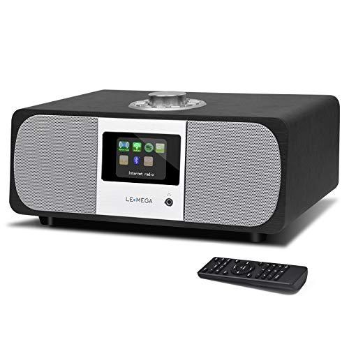 LEMEGA M3P 20 Watt Stereo Internetradio (DAB+/UKW-RDS,Digitalradio mit Bluetooth,Spotify Connect,WLAN,LAN,Subwoofer,Fernbedienung und App,AUX,Radiowecker mit Dual-Alarm,Farbdisplay)-Schwarze Eiche