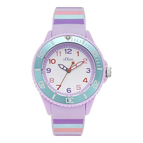 s.Oliver Mädchen Analog Quarz Uhr mit Silikon Armband SO-4259-PQ