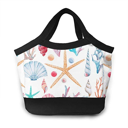 Lunch bags for women,Watercolor Set Of Isolated Marine Objects, Shells And Pearl, Corals, Starfish Cool Bags