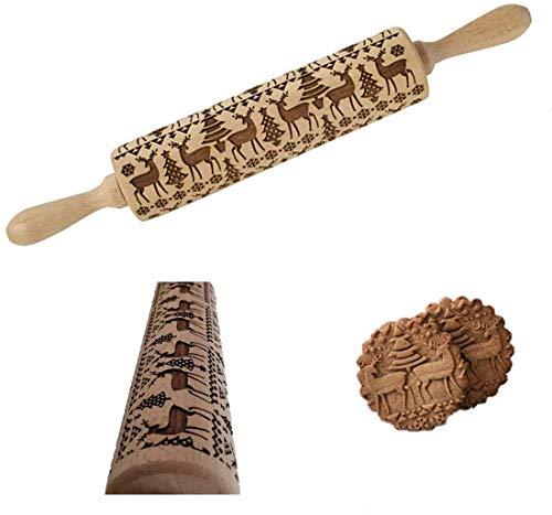 MEISHANG 3D Holz Nudelholz,Teigrolle mit Botiv,Teigrolle Muster PräGerolle,Weihnachten Präge Nudelholz,Präge Nudelholz Weihnachten,Weihnachten Geprägt Teigroller