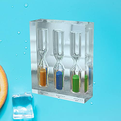FHSMRING Temporizador de arena acrílico transparente 3 en 1 3 4 5 minutos reloj de arena colorido reloj de arena temporizador para el hogar oficina cocina temporizadores (color como se muestra)