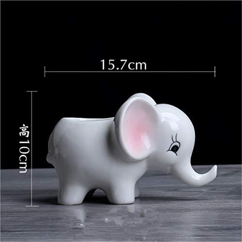 AUGYUESS Elefant Keramik Blumentopf Desktop Topfdekoration einfache Gartenarbeit im Freien saftigen Blumentopf