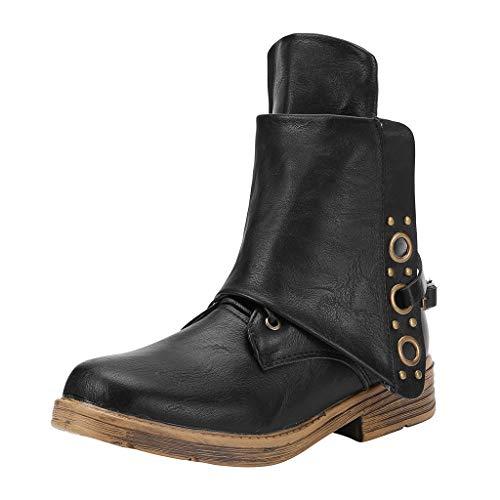 Damen Winter Martin Stiefel, Vintage Ankle Boots Warm Gefüttert Stiefeletten Schwarz Leder Stiefel...