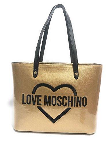 BORSA DONNA LOVE MOSCHINO SHOPPER PVC ORO LOGO NERO POCHETTE BS17MO102