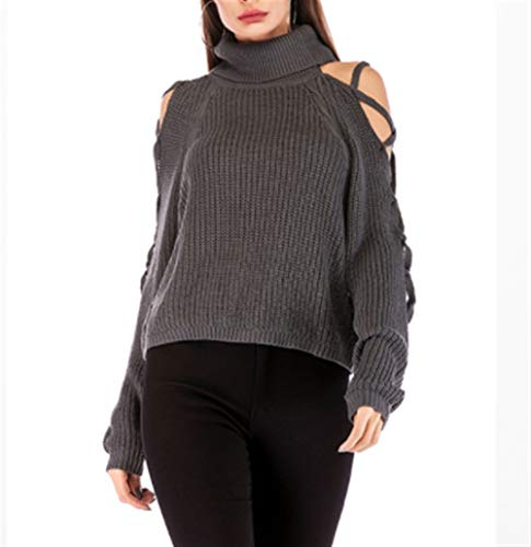 Vrouwen Button Sweater Coltrui Sexy Strapless Bandage Solid Color Short Sweater Knitwear Winter Hooded (Color : Grey, Size : M)