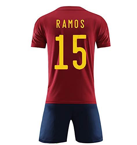 FDSEW 2020 Europa-Cup Spanien Nationalmannschaft Jersey Startseite kurzärmeliges Erwachsene Kinder Anzug Fußball-Uniform Trainingsanzug red15-M