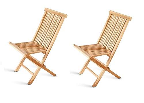 SAM Teak-Holz Klappstuhl, Menorca, 2er Set, zusammenklappbarer Hochlehner aus Massivholz, Balkon, Terrasse oder Garten