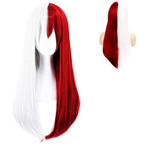 Anime Cosplay Perücke Damen Rot&Weiß Lange Gerade Pony Perücke für Frauen Halloween Party Karneval Perücke