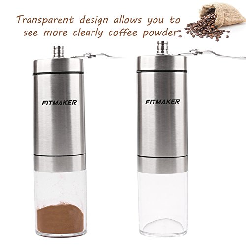 FITMAKER Manual Coffee Grinder, Stainless Steel Personal Bean Conical Burr Mill with Adjustable Coarseness Screw(Upgraded)