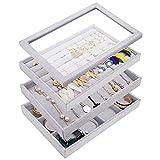 Banliku Stackable Jewelry Organizer Tray with Lid, Jewelry Storage Organizer for Drawer, Velvet Jewelry Tray Ring Storage Organizer, Stackable Jewelry Box, Drawer Jewelry Organizer for Necklace - Grey