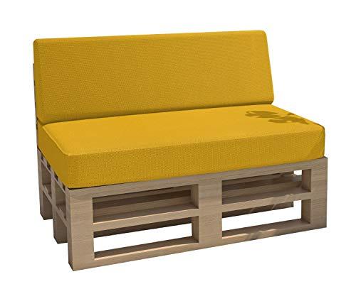 cojines para palets cojines para jardín impermeable Interior Exterior funda desenfundable asiento respaldo Sofá palets Sofá de patio (Set de 2, Amarillo)