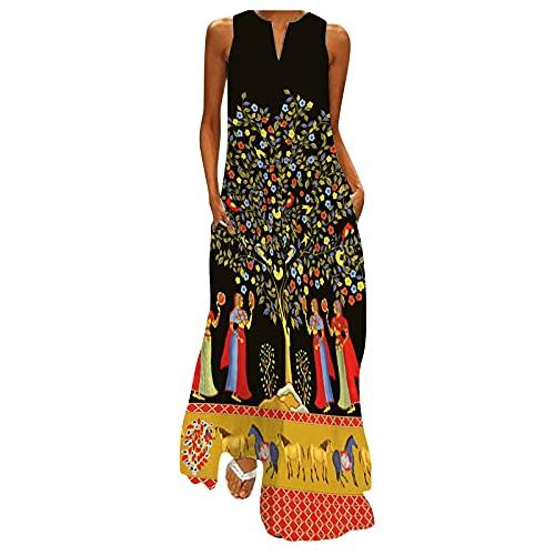 AMhomely Vestido de verano para mujer, talla grande, sin mangas, cuello en V, vestido largo, elegante, vintage, étnico, vestido suelto, talla Reino Unido