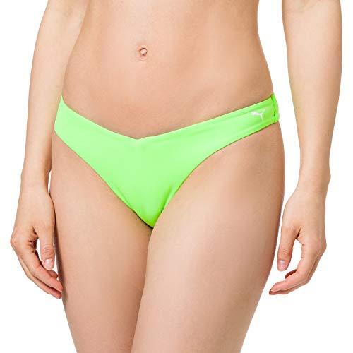PUMA Womens Swim Women's V-Shape Brief Bikini Bottoms, neon Green, M