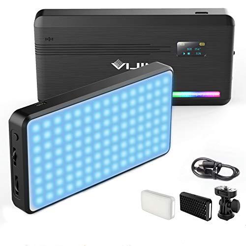 LED Videoleuchte RGB mit Eingebautem Akku,Dimmbare Videolicht 2500K-9000K, LED Kamera Licht Dauerlicht CRI95+,Klein Tragbar Mini Fotolampe für DSLR Camcorder Smartphone
