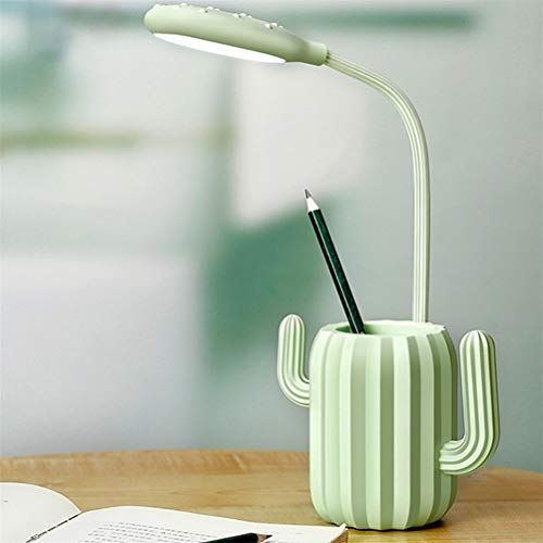 Bureaulamp Met USB-Poort Opladen, 5 Helderheid Levels Compatibel Tafel Licht Met Touch Sensitive Switch Leeslampjes, Potlood Decoratie,Green,13.5 * 41.5cm