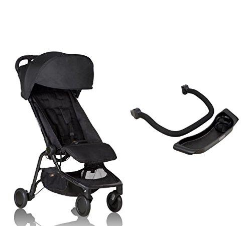Mountain Buggy Nano V2 Kinderwagen schwarz + Frontbügel + Tablett - inkl. Reisetasche