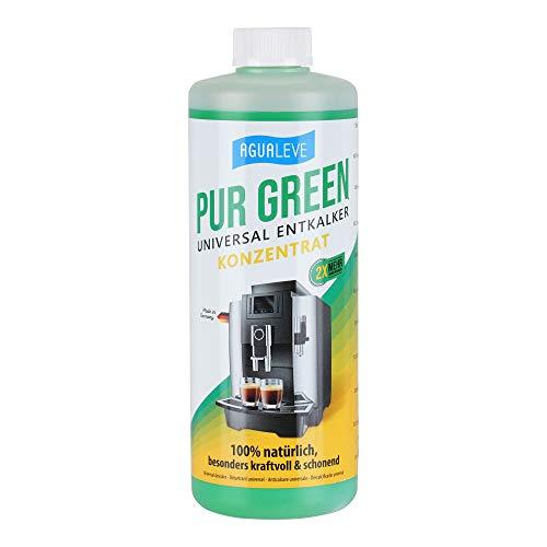 PUR GREEN Entkalker Kaffeevollautomat, kompatibel mit DeLonghi u. allen anderen Herstellern | *KONZENTRAT: 12 STATT 6 ANWENDUNGEN* | Natürlich, kraftvoll, schonend | Auch für Küchen- u. Haushaltgeräte