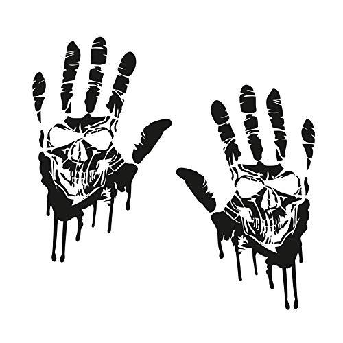 Finest Folia 2 Blutige Hände je 22cm Blutspuren Aufkleber Auto Sticker Frontscheibenaufkleber ((K014) 2er Set Blutige Hände Totenkopf Schwarz)