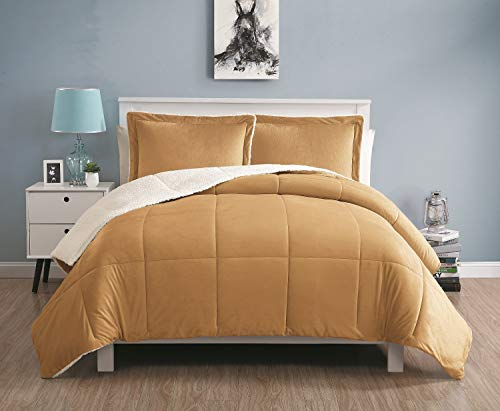 VCNY Home Queen Size Comforter Set in Camel Cozy Mink-FeelSherpa Lined 3 Pc Set w/ 2 Shams