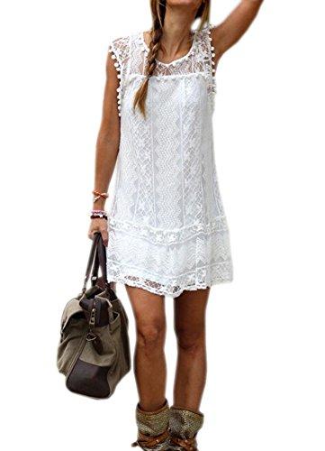 DELEY de Mujer de Verano sin Mangas de la Playa Vestido de Fiesta Casual Encaje Túnica Corta Mini Vestido M