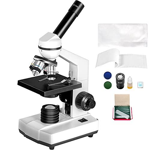 Happybuy Monocular Compound Microscope 40X-2500X Magnification Digital Compound Microscope WF10X & WF25X Eyepieces Compound Light Microscope Tungsten Illumination Abbe Condenser Achromatic Objectives