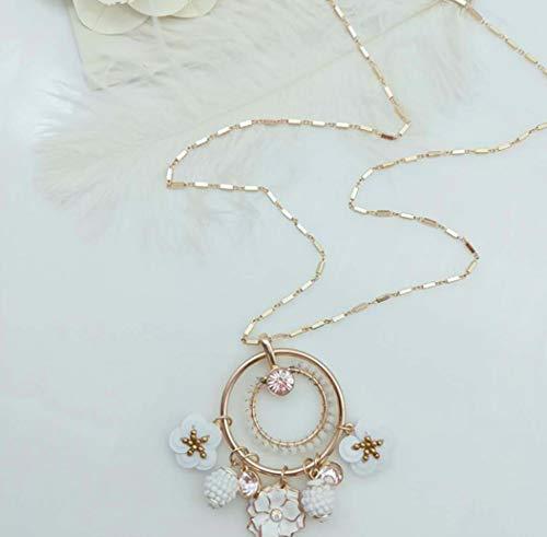 FOR TMT Halskette Mode Rosa Kristallprotein Diamant Halskette Glasur Blumen Wildreis Pflanze Ball Lange Halskette Geschenk