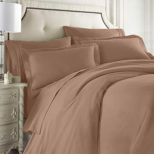 Clara Clark Complete 7 Piece Bedding Set Includes Sheets, Duvet, Pillow Covers, Queen, Taupe Sand